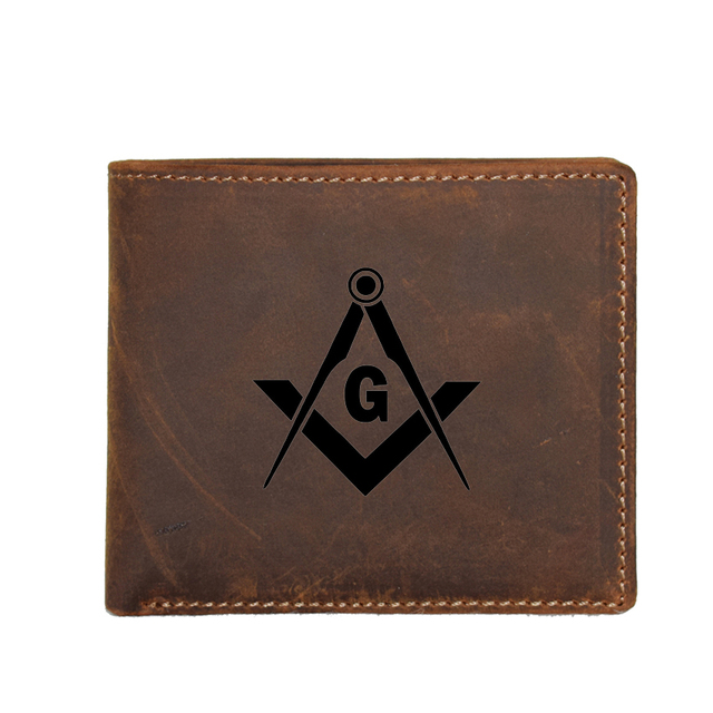 84676036a8b3 Freemasons Wallet Men RFID Card Holders Genuine leather Coin Pockets Bags  Men Custom Wallets Personality Vinatge Purses for Men