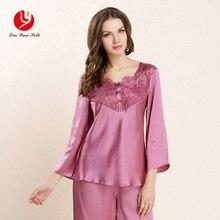 LIN YUN Real Silk Pajamas Sets Summer Women Three Quarter Top & Bottom Lace Print Sleepwear Female Silk Pajama Lady Homewear