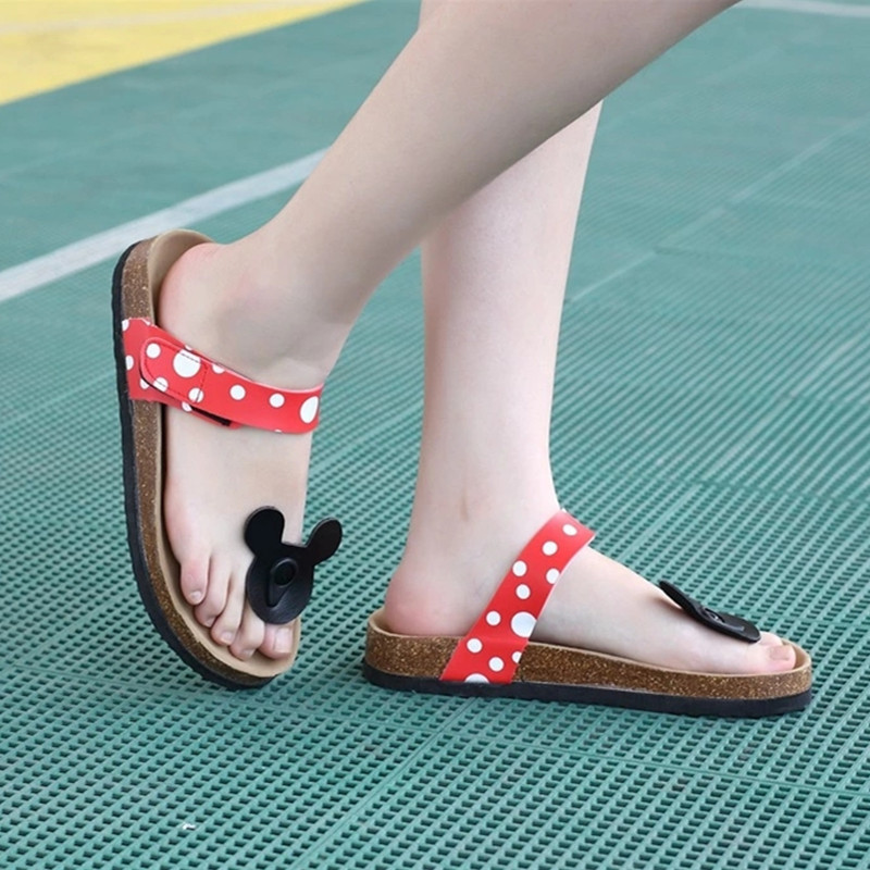 Mickey soft Women 39 s Cotton slippers Cartoon Lovely cute Woman Sandals Beach Shoes Plus Size 43 in Slippers from Shoes
