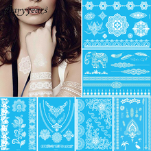 1 Sheet Temporary Tattoo White Flower Jewelry Chain Body Sticker Chest Henna Hands Arse Neck Art For Women Men Tattoo Paper WYHB