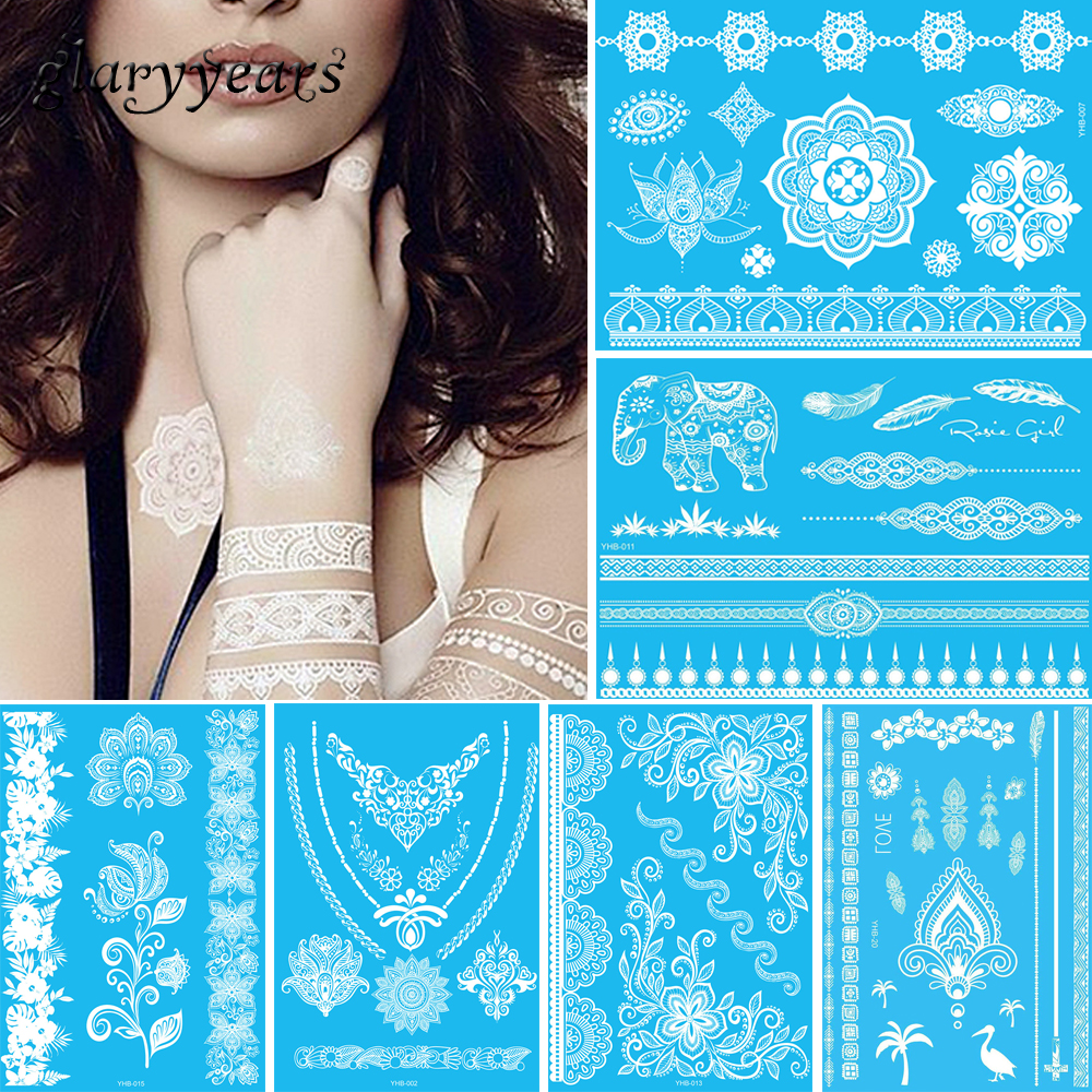 1 Sheet Temporary Tattoo White Flower Jewelry Chain Body Sticker Chest  Henna Hands Arse Neck Art for Women Men Tattoo Paper WYHB f8922a54ef