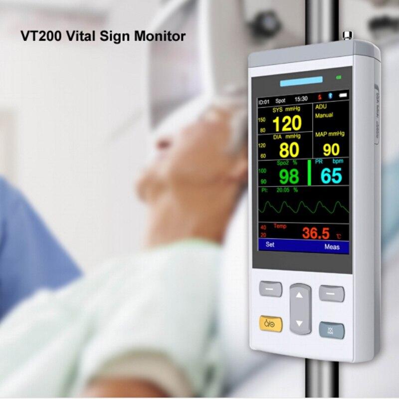 Plus petit 3.5 pouce couleur TFT de poche Vital Sign Monitor Oxymétrie Moniteur avec Spo2, PNI, TEMP Paramètres Spo2 Oxymètre
