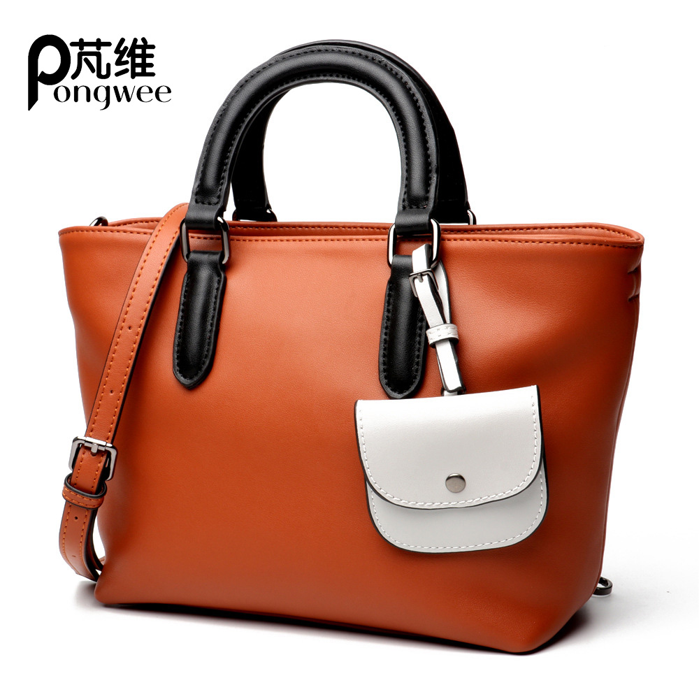 PONGWEE female bag 2018 new lady Europe and the United States fight color shoulder portable leather handbag fashion bags