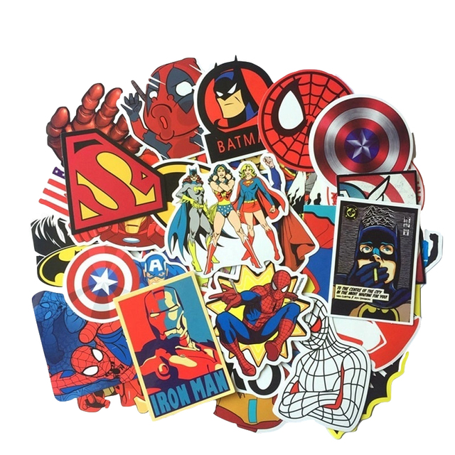 50Pcs Super Hero Sticker Spiderman Captain America anime cool Waterproof Suitcase Box Laptop Guitar Luggage Bicycle Toy Stickers