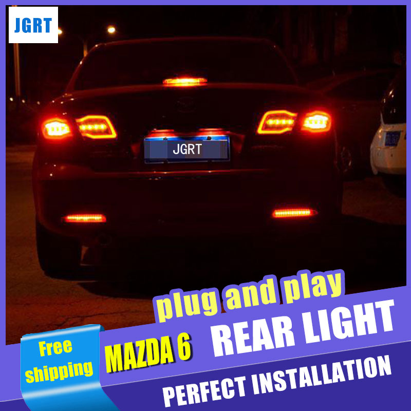 Car Styling for Mazda 6 Taillight assembly 2004 2013 Mazda 6 Classic LED Tail Light Rear Lamp DRL+Brake with hid kit 2pcs.