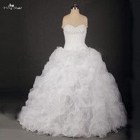 RSW734 Real Dress Hot Sale Sweetheart Bridal Gown Lace up Ruffles Wedding Dress 2015 Beaded Bust Sleeveless Ball Gown