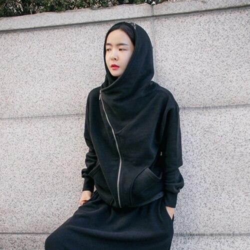 2019 Printemps Noir Épais Style Punk Sweat Femmes Sweats À Capuche Avec Poche décontracté À Capuche Pulls