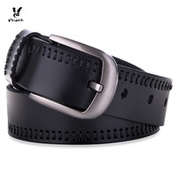 Retro Threading Cowhide Leather Belt For Men With Pin Buckle