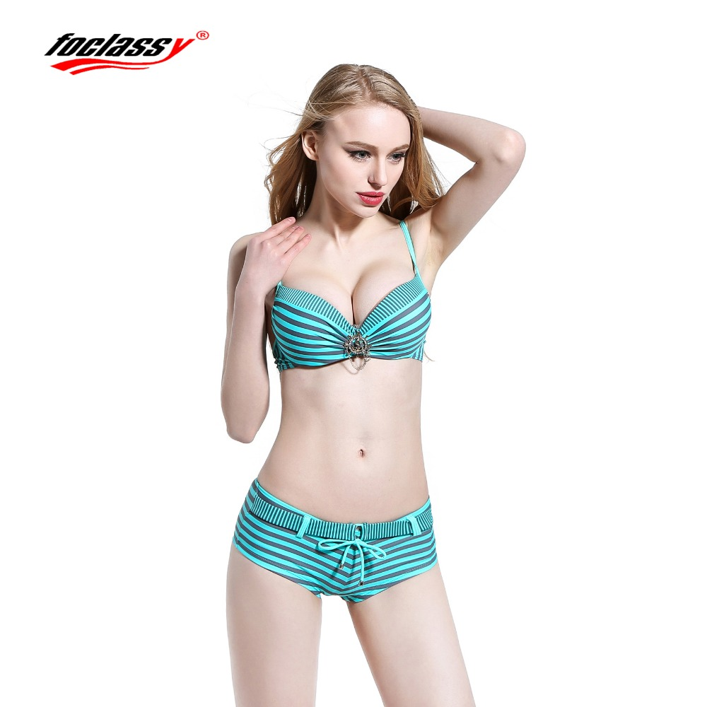 Foclassy Swimsuit Bikini 2017 Plus Size push up set Swimwear Women's swimming suit Bandeau Bather Bathingsuit Beach Wear