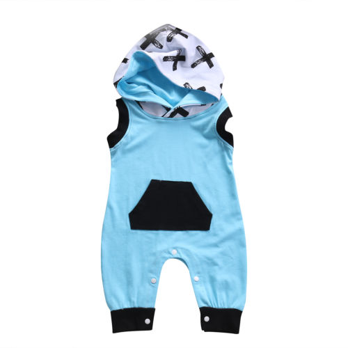 Baby Kids Boy Girl Hooded Clothes Infant sleeveless Romper Jumpsuit Cotton Clothes Outfit