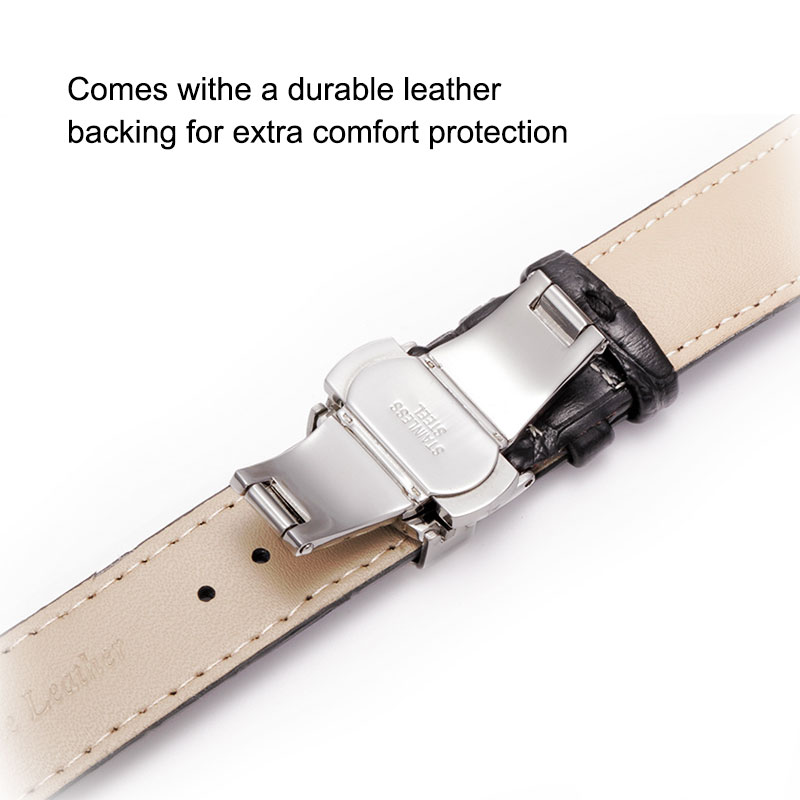UTHAI Z09 Genuine Leather Watchbands 12-24mm Universal Watch Butterfly Buckle Band Steel Buckle Strap Wrist Belt Bracelet + Tool