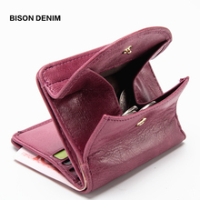 BISON DENIM Genuine Leather Women Purse Coin Wallet for 2019 Cowhide Female Card Holder Carteira Feminina Lady purse N3274