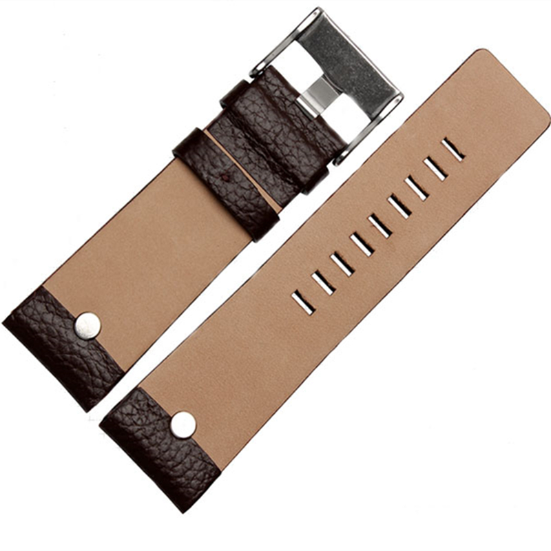 Image 5 - MERJUST 22mm 24mm 26mm 28mm 30mm Black Brown White Leather Strap For Diesel DZ DZ7257 DZ4318 watchband Wristband With rivet-in Watchbands from Watches