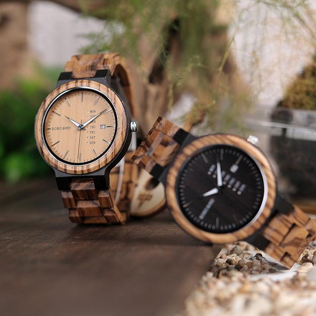 BOBO BIRD Wooden Handmade Men Quartz Watch with Complete Calendar