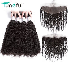 Malaysian Curly Hair 4 Bundles With Frontal Tuneful 100% Remy Human Hair Weft Weave Full Lace Frontal Closure With Bundles(China)