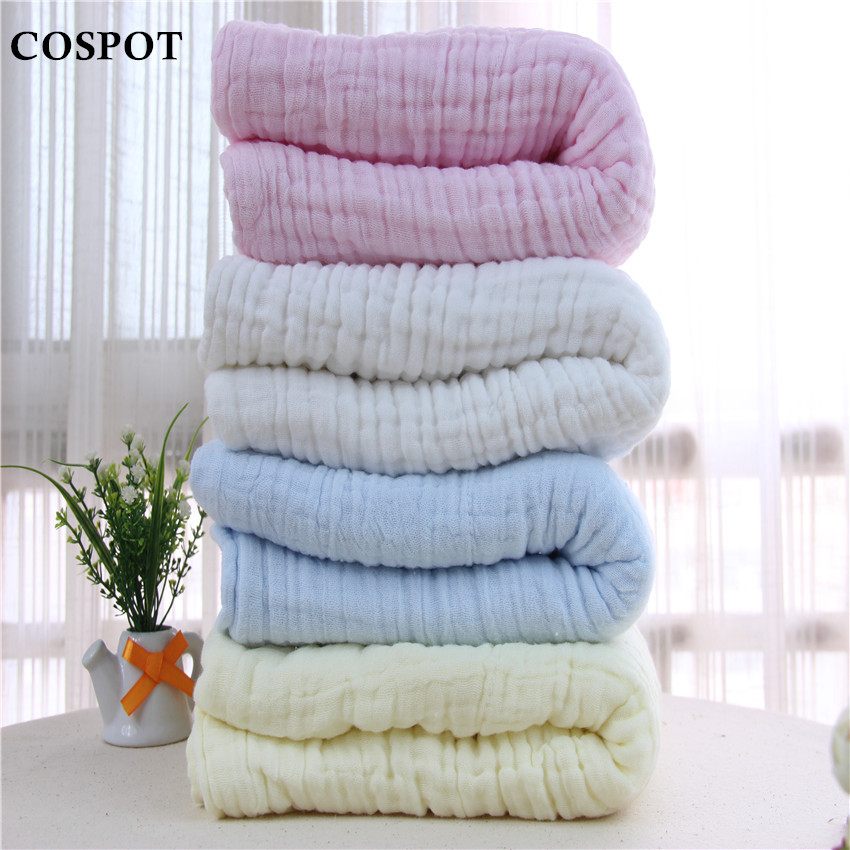 Newborn Bath Towel Baby 100 Cotton Blanket Infant 6 layer Gauze Towel 110 120 350g 2017