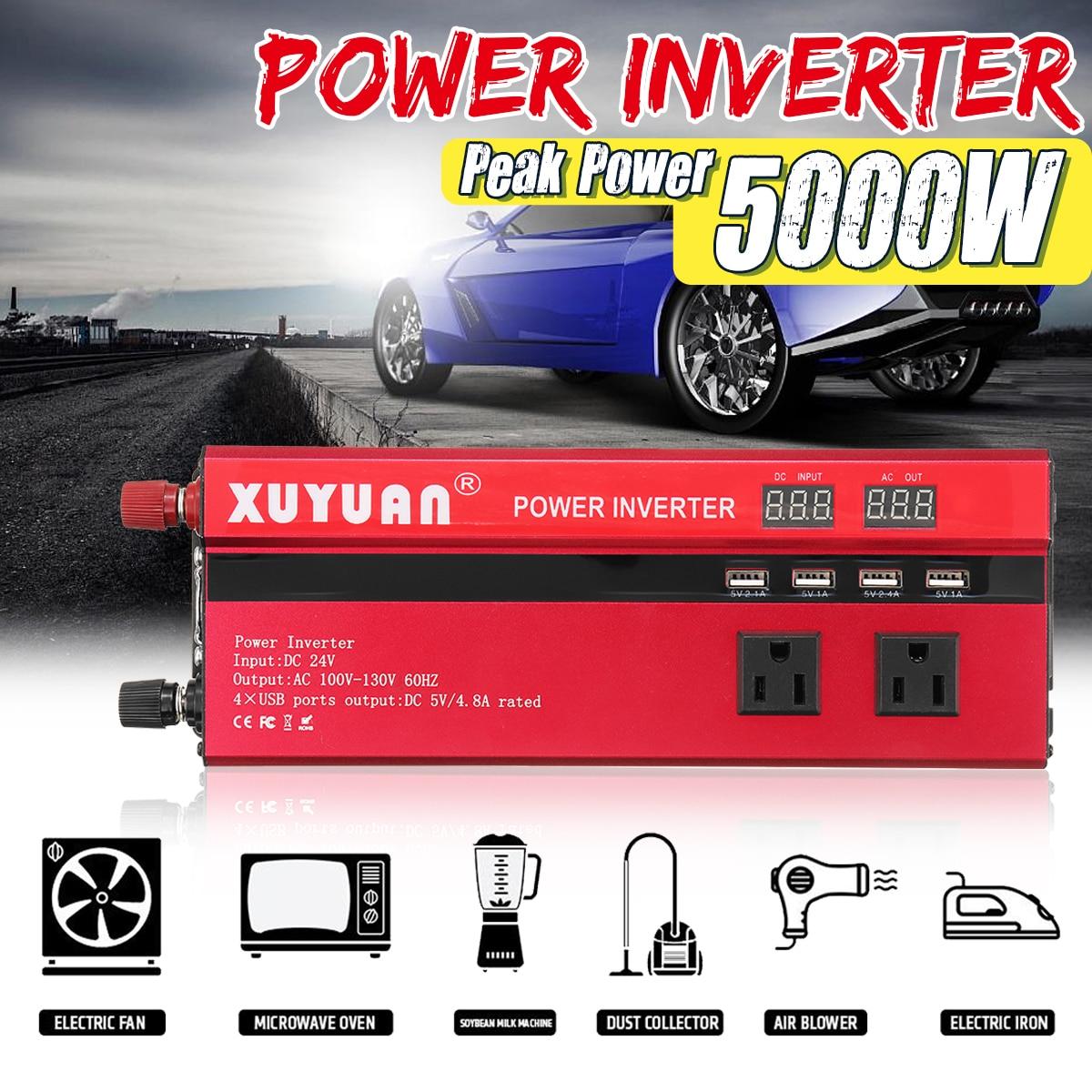 Инвертор 12 В/24 В 220 В 5000 Вт пик Мощность инвертор конвертер Напряжение трансформатор синусоида Inversor 12 в/24 В 110 В + ЖК-дисплей Дисплей