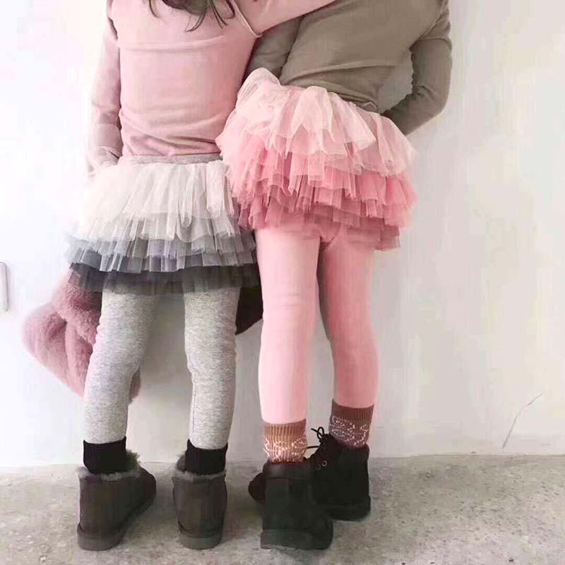 Baby Girls Pants Cotton Leggings With TUTU Skirts Girls Trousers Kids Leggings Clothes Skirt-Leggings1