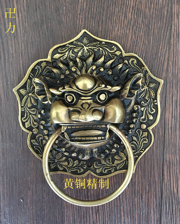 Chinese antique copper beast Head Knocker handle lion head shop first Shoutou YRH0051 classic door handle 198mm diameters antique chinese lion head door handle knocker handle unicorn beast