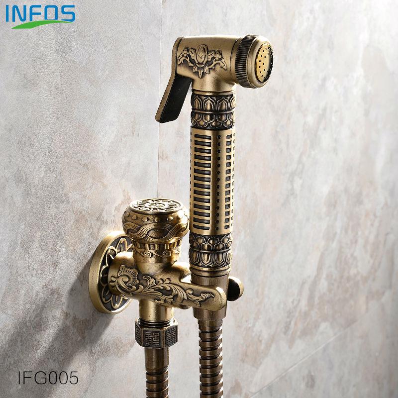 ФОТО INFOS INFOS Antique Brass Bathroom Bidet Faucet Toilet Portable Spray With Shower Holder Handheld Bidet grifo ducha IFG005