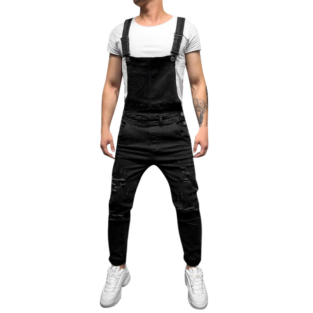 Men jumpsuit Men's Overall Casual pantalones hombre   Jeans   Wash Broken Pocket Trousers Suspender pantalon invierno hombre Pants