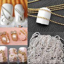 1 шт Высокое качество 1 м наклейки для дизайна ногтей 3D наклейки металлические блестки полоскающие шарики украшения цепи по низкой цене