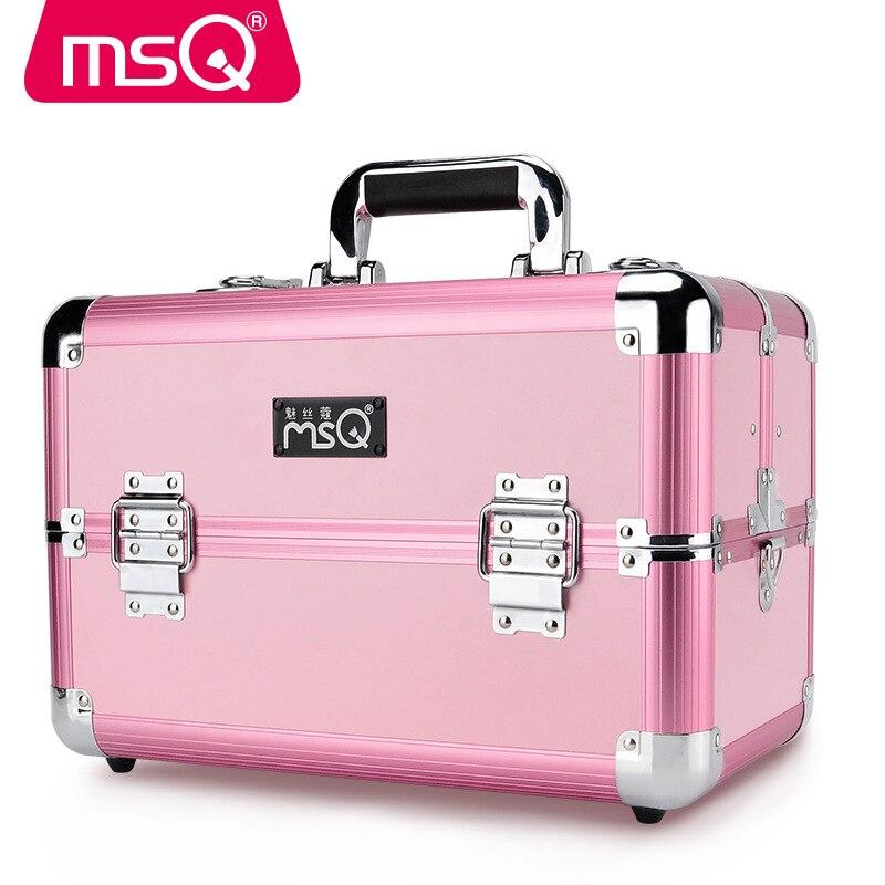 MSQ Full Professional Makeup Case Aluminum Alloy Brushed Plastic Case 2 Color Optional Size Optional Makeup Artist Cosmetic Case nyx professional makeup кейс визаж beginner makeup artist train case beginner