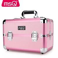 MSQ Full Professional Makeup Case Aluminum Alloy Brushed Plastic Case 2 Color Optional Size Optional Makeup