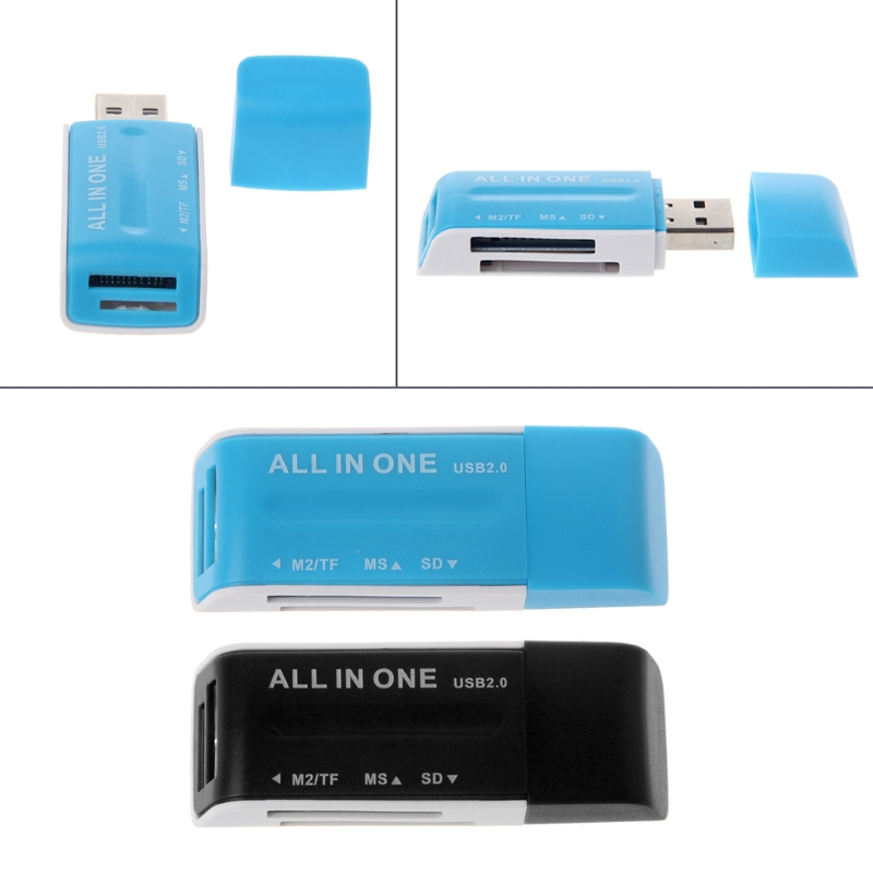 All-In-One USB 2.0 Multi Memory Card Reader Adapter For SD/SDHC MMC MS M2 TF