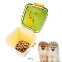 Pet Dog Food Container + Pá Conjunto Capacidade 4 kg Quadrado Boa Vedação Cão Brinquedos Suprimentos de Artigos Diversos de Armazenamento de Alimentos 24x24x25 cm
