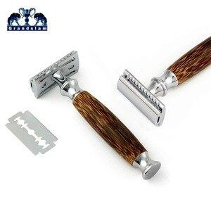 Image 2 - Tweesnijdend Scheermes met Lange Natuurlijke Bamboe Handvat Ervaring EEN Beter Scheren Grandslam Vriendelijke Grooming 10 Blades