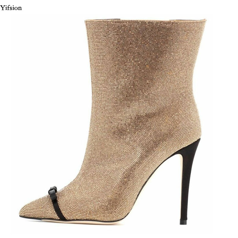 Yifsion Women Gorgeous Ankle Boots Thin High Heel Shoes Sexy Pointed Toe Ladies Beautiful Gold Party Shoes Women US Size 3-10.5Yifsion Women Gorgeous Ankle Boots Thin High Heel Shoes Sexy Pointed Toe Ladies Beautiful Gold Party Shoes Women US Size 3-10.5