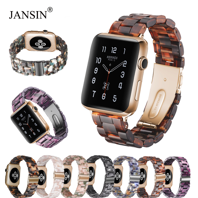Fashion Resin strap for apple watch 42mm 38mm 40mm 44mm stainless steel buckle watch band for iwatch series 4 3 2 1 accessoriesFashion Resin strap for apple watch 42mm 38mm 40mm 44mm stainless steel buckle watch band for iwatch series 4 3 2 1 accessories