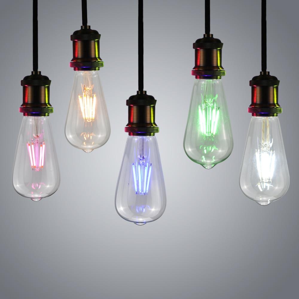 2pcs 4W 220V E27 Retro Vintage Edison LED night light Glass Candle ...