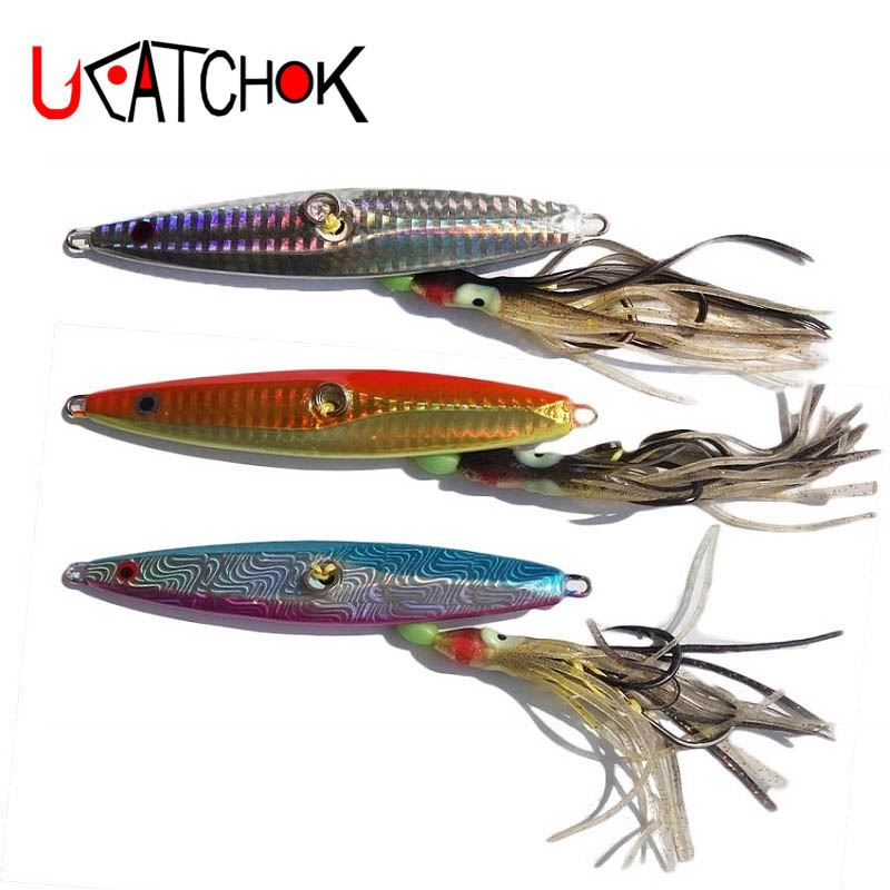 UCOK 130g Inchiku lead jigs rig fishlure bait with octopus assist hook boat slow casting sea