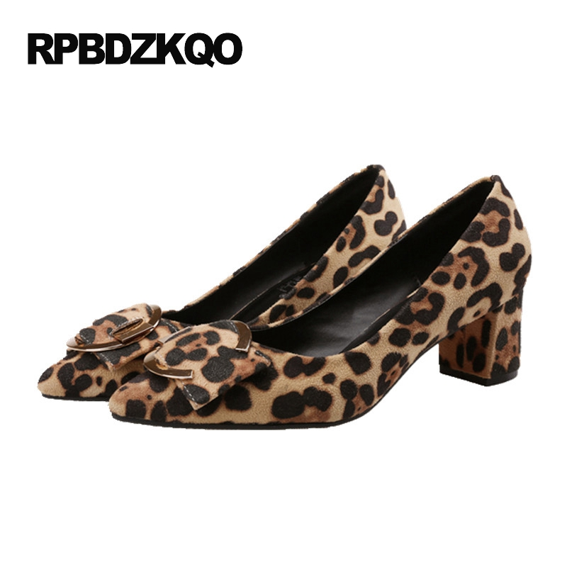 Sexy Plus Size Pointed Toe Medium Footwear Leopard Print Metal High Heels 33 Suede 2017 Party Shoes Women Chunky Pumps China fashion pumps elegant metal size 4 34 women medium square toe female chunky wine red patent leather shoes new 33 modern china