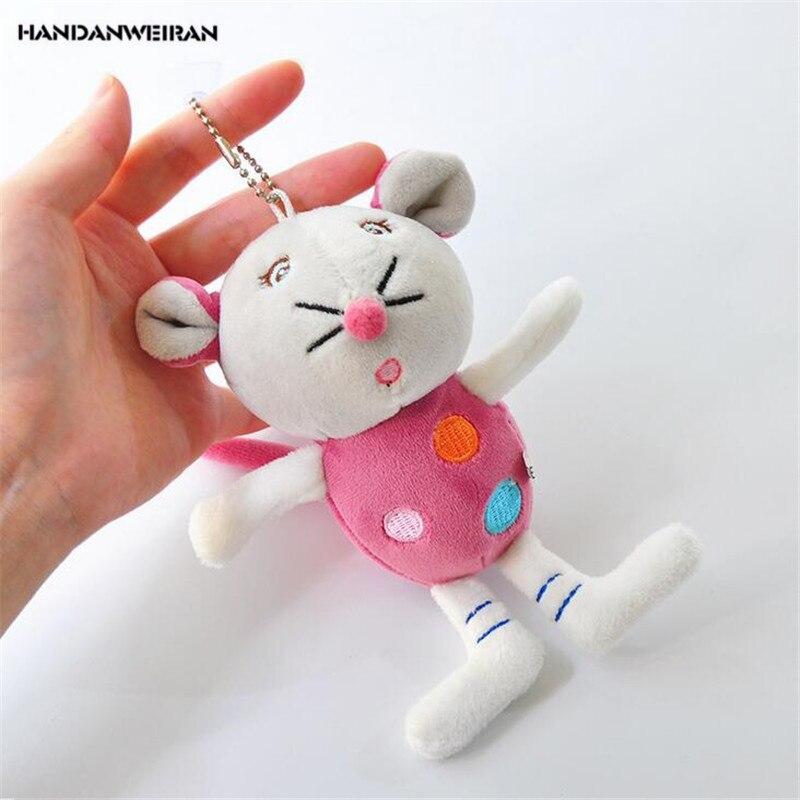 HANDANWEIRAN 1Pcs PP Cotton New Kawaii 10CM Color Mouse Stuffed Toys Pendants Rat Sucker Gift Plush Toy Dolls For Kid's Party