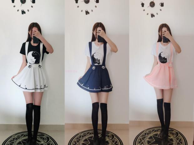 HTB1612UaULrK1Rjy0Fjq6zYXFXab - Merry Pretty New Summer Women Skirts Cartoon Cat Dog Embroidery Skirt Harajuku Kawaii Japan Style Cute Chiffon Strap Mini Skirt