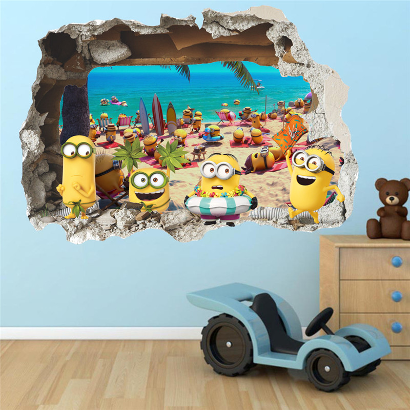 3D Wall Sticker Cute Yellow Boy On Holiday Smashed Window Baby Kids Room Bedroom  Decoraton Vinyl Decals Art Mural Poster