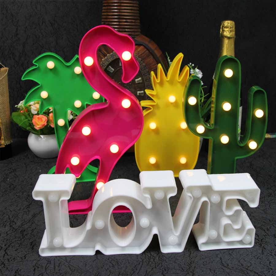 LMID 3D Marquee Unicorn Flamingo Table LED Lamp Love decorative letters led Childrens Night Light Star Moon Cloud Heart HOME ...