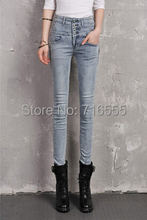New arrival spring autumn pencil denim jeans high waist cotton full length casual pants plus size elastic female trouser pxn0501