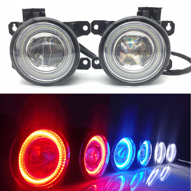 2 in 1 LED Angel Eyes DRL 3 Colors Daytime Running Lights Cut-Line Lens Fog Lights for Nissan Frontier Pathfinder Sextra X-terra car styling 2 in 1 led angel eyes drl daytime running lights cut line lens fog lamp for land rover freelander lr2 2007 2014