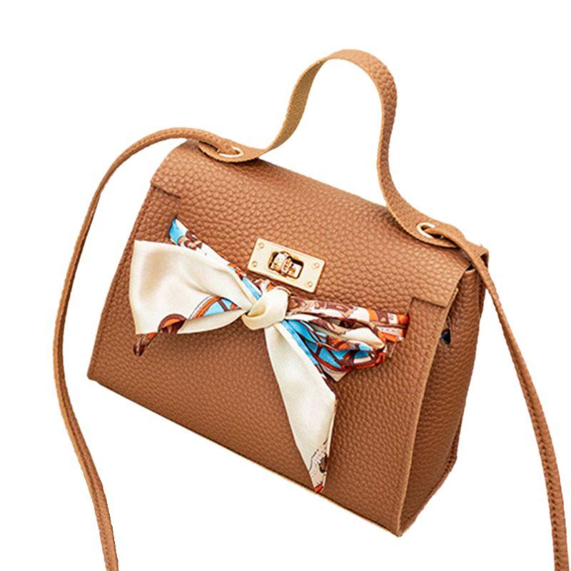 Premium Quality New Women PU Leather Handbag Shoulder Lady Crossbody Bag Tote Messenger Satchel Purse With Scarf Decor