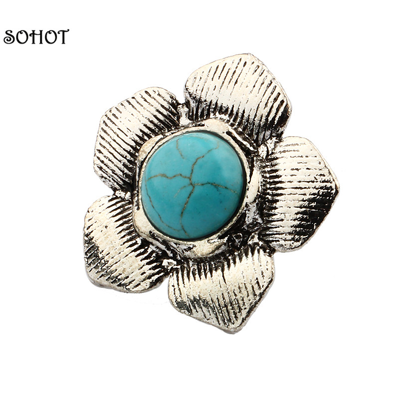 SOHOT Vintage Natural Stones Ring Antique Silver Flower Ring Unisex Personality Statement Finger Ring Women Bijoux Accessories