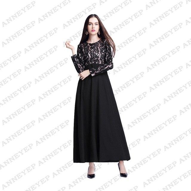 11b701ed7 4 ألوان أنيقة الدانتيل كم فستان ماكسي طويل للنساء المغربي قفطان قفطان عباية  مسلم فساتين حجم
