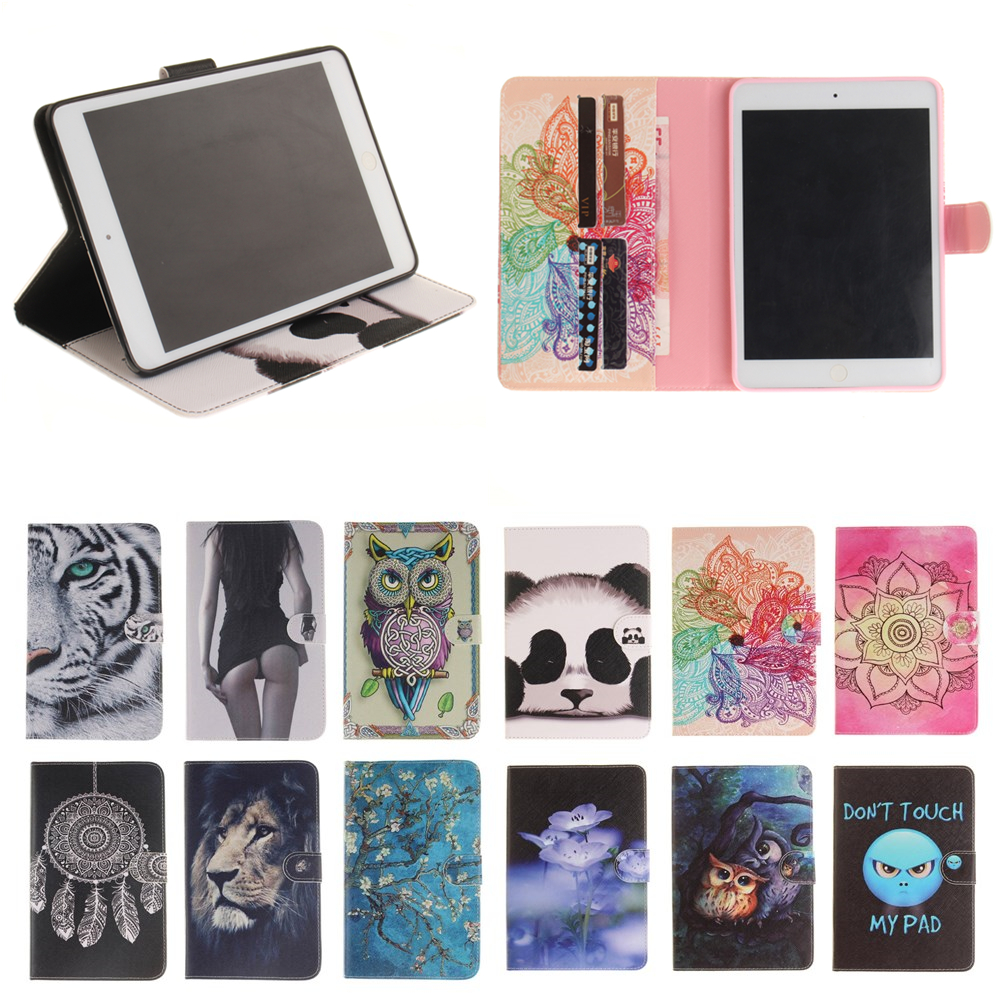 For Apple iPad Mini 4 Cover Case Panda Owl print Wallet PU Leather Flip Case For Apple iPad mini 4 mini4 tablet Sleeve #S ...