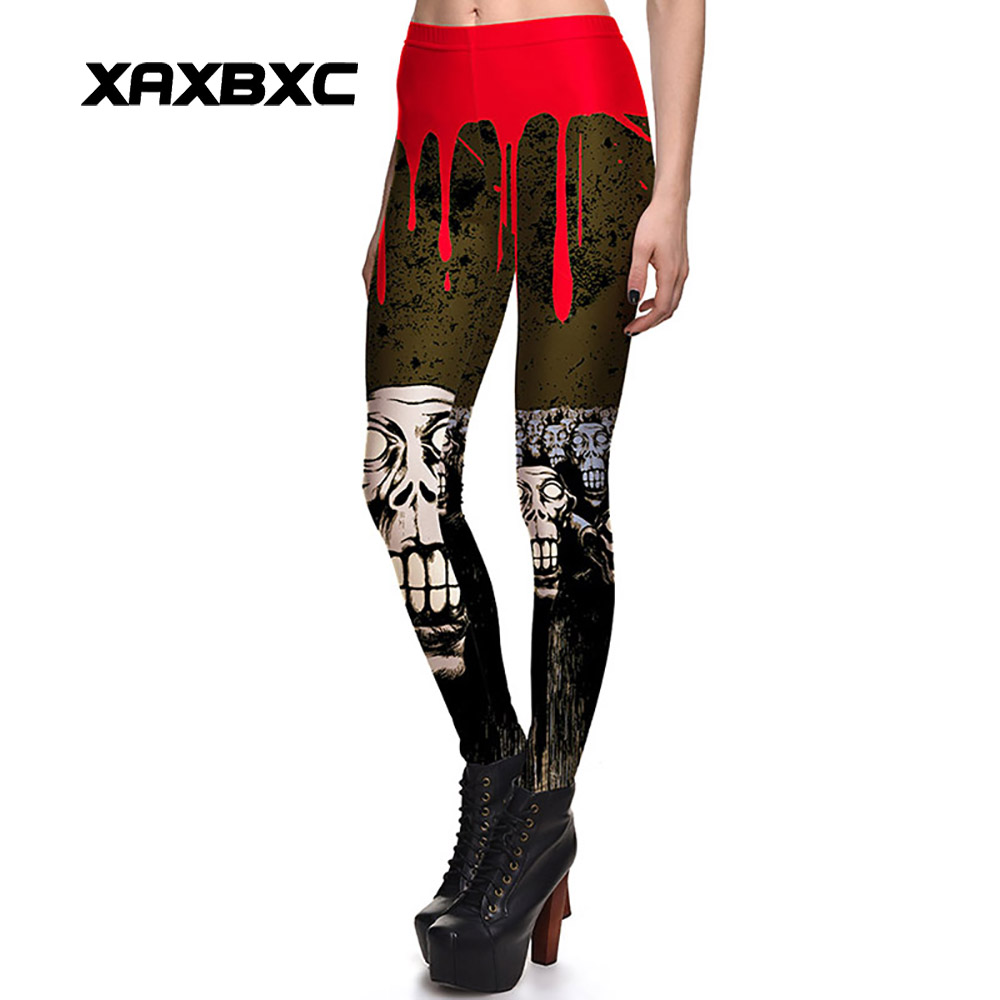 New Arrival 3762 Sexy Girl Halloween Blood Skull Jack O Lantern Printed Elastic Fitness Polyester Workout Women Leggings Pants
