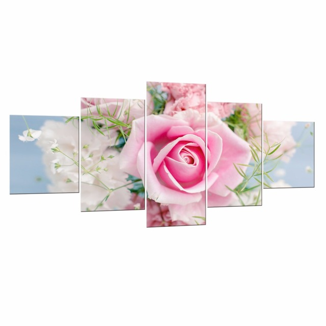 Fashion Home Decoration Framed 5 Piece Pink roses Canvas Print Oil ...