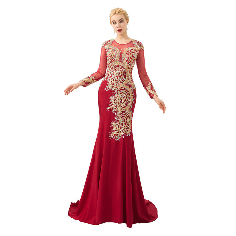 Satin de haute qualité avec Appliques o-cou vin manches longues Robe de sirène robes de soirée Robe longue soirée robes largos
