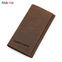 Custom Name Or Logo Business Men Leather Bag Passport Wallet Genuine Leather Boarding Card Holder Long